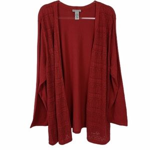 Catherines Red Shimmer Open Front Cardigan Sweater